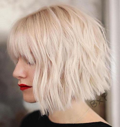 Blonde Bob Haircut With Bangs