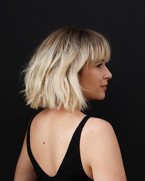 Blonde Bob Hairstyles With Bangs